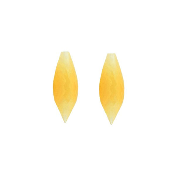 Agate, dyed, yellow, pointed teardrop, faceted, 20 x 8 mm