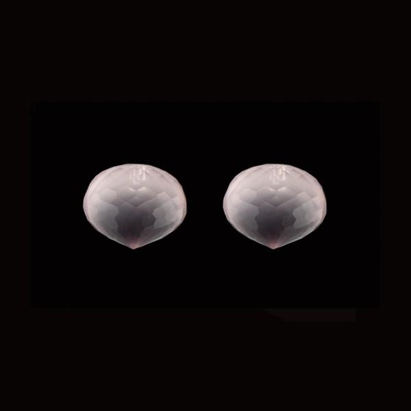 Rose quartz, pink, faceted teardrop, onion shape, 13 x 11 mm