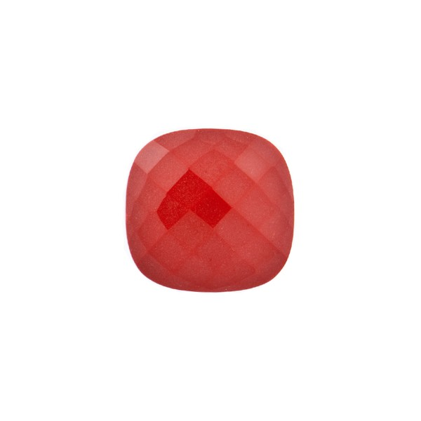 Coral, reconstructed, carmine red, faceted briolette, antique shape, 10 x 10 mm