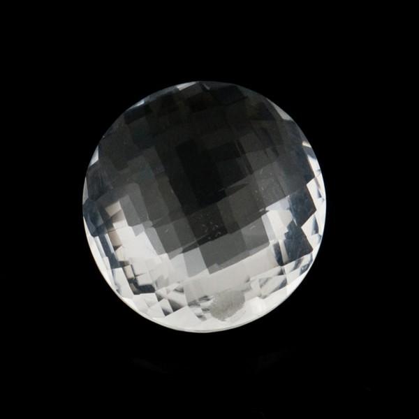 Bergkristall, transparent, farblos, Briolett, facettiert, rund, 14mm