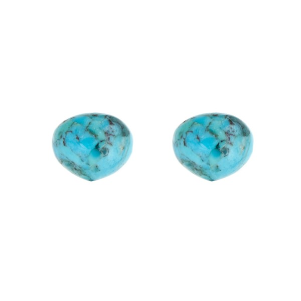 Turquoise (natural, with matrix), teardrop, smooth, onion shape, 13 x 11 mm