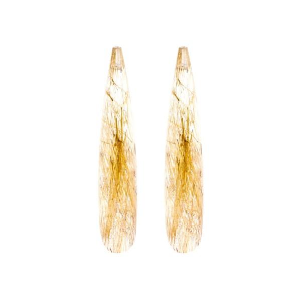 Rutilquarz, goldene Nadeln, Pampel, facettiert, 35x8 mm
