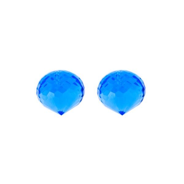 Quartz (synthetic), blue, teardrop, faceted, onion shape, 13 x 11 mm