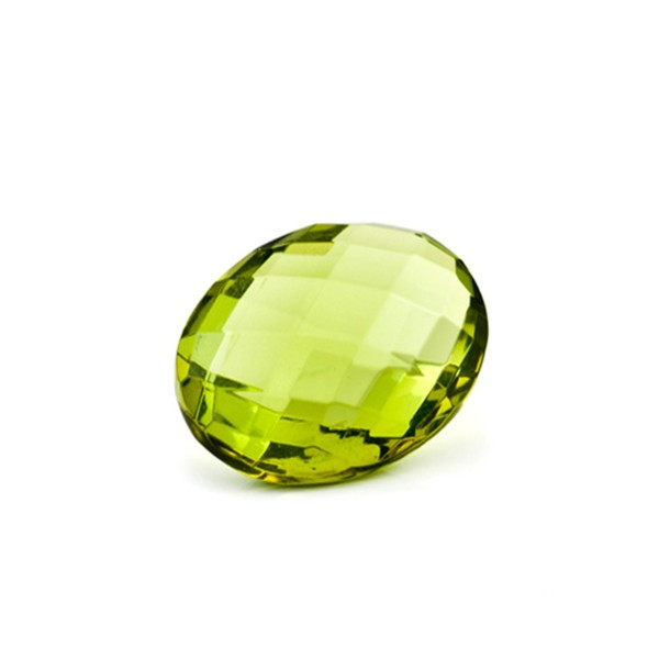 Natural amber, green, briolette, oval, 14 x 10 mm