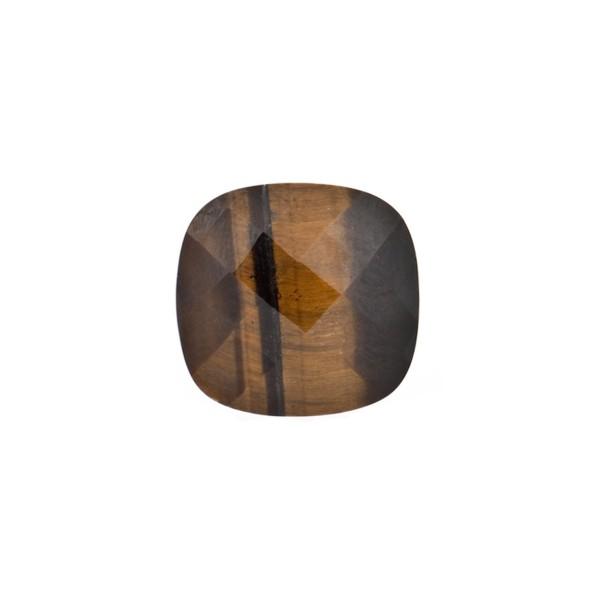 Tiger's eye, brown, faceted briolette, antique shape, 10 x 10 mm