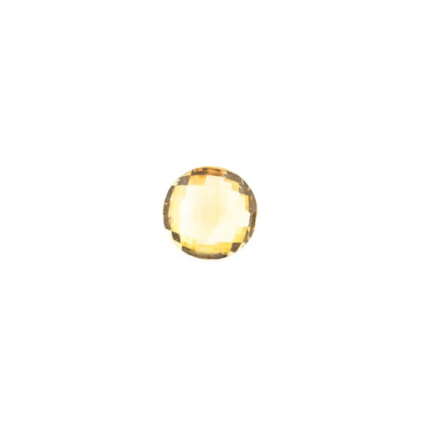 Citrine, golden color, faceted briolette, round, 6 mm