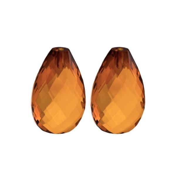 Bernstein (natur), cognacfarben, Briolett, facettiert, Birnenform, 24x15mm