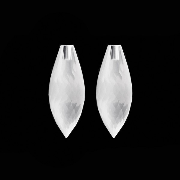 Milky quartz, white, pointed teardrop, faceted, 26 x 10 mm