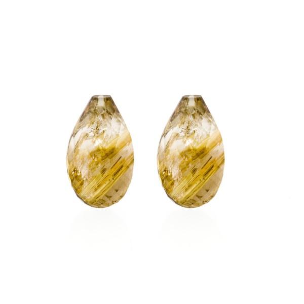 Rutilquarz, goldene Nadeln, Pampel, facettiert, Harlekin, 18x11mm