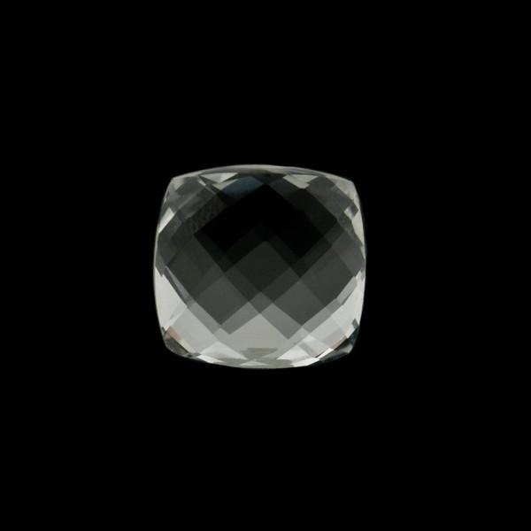 Bergkristall, transparent, farblos, Briolett, facettiert, antik, 10x10mm
