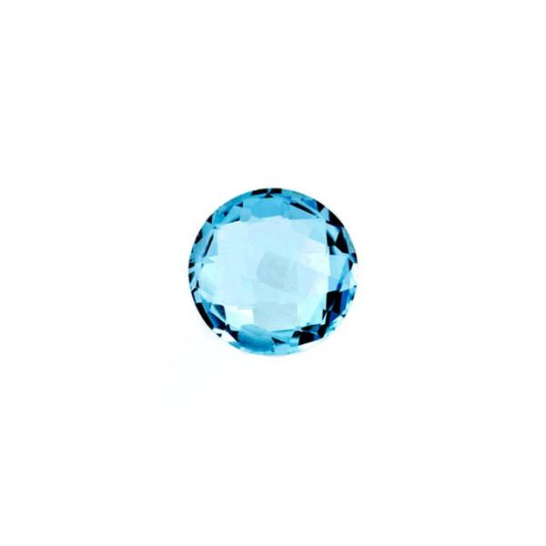 Blue topaz, london blue, faceted briolette, round, 8 mm
