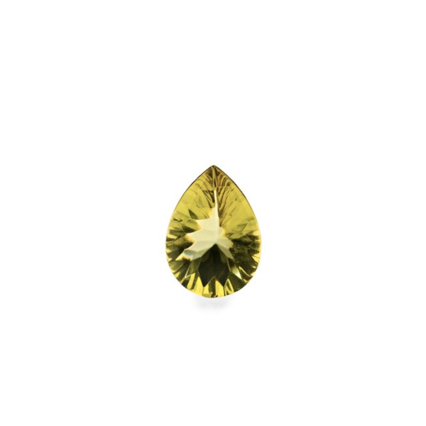 Natural amber, green, buff top, concave, pear shape, 8 x 6 mm