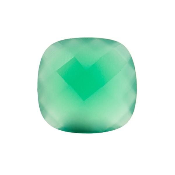 Achat, gefärbt, grün, Briolett, facettiert, antik, 13x13mm