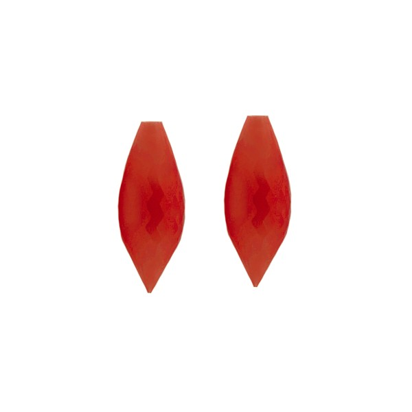 Coral, reconstructed, carmine red, pointed teardrop, faceted, 20 x 8 mm