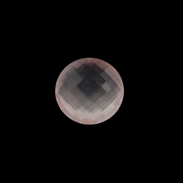 Rose quartz, pink, faceted briolette, round, 10 mm