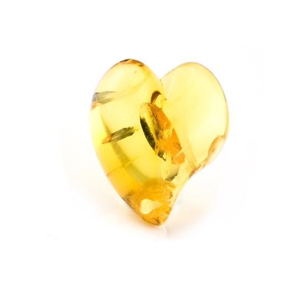 Bernstein (natur), goldfarben, Herz (geschwungen), Linse, glatt, 22x20mm