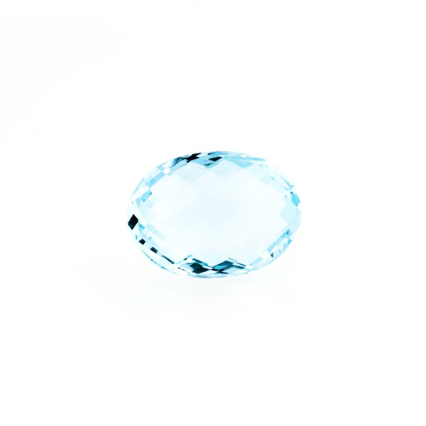 Blue topaz, sky blue, faceted briolette, oval, 10 x 8 mm