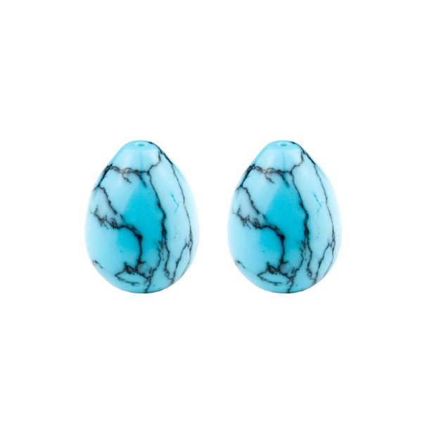 Turquoise (reconstructed), turquoise, teardrop, smooth, 17 x 13 mm