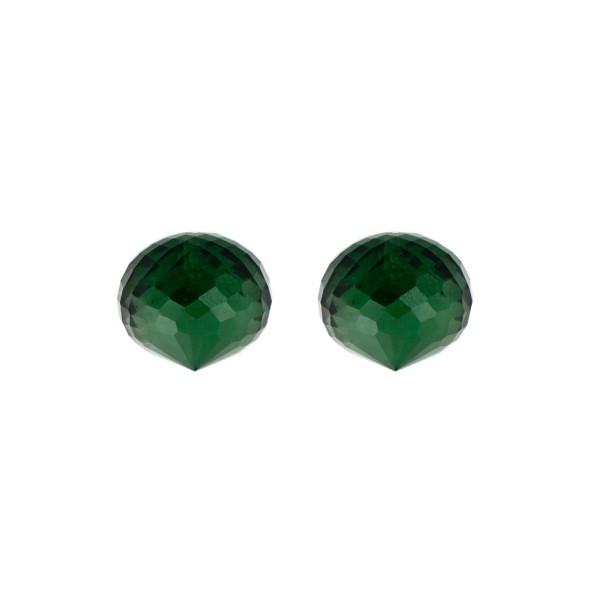 Quarz (synthetisch), grün, Pampel, facettiert, Zwiebelform, 13x11mm