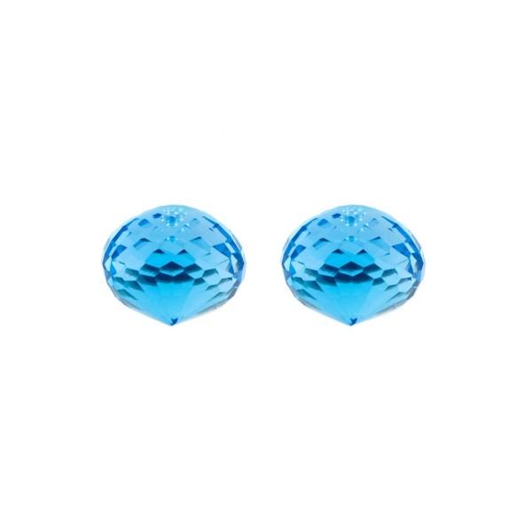 Blautopas, Swiss Blue, intensiv, Pampel, facettiert, Zwiebelform, 13x11mm