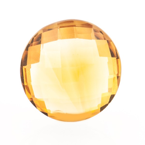 Citrine, palmeira, orange, faceted briolette, round, 16 mm