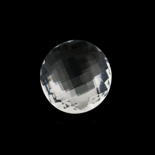 Rock crystal, transparent, colorless, faceted briolette, round, 12 mm