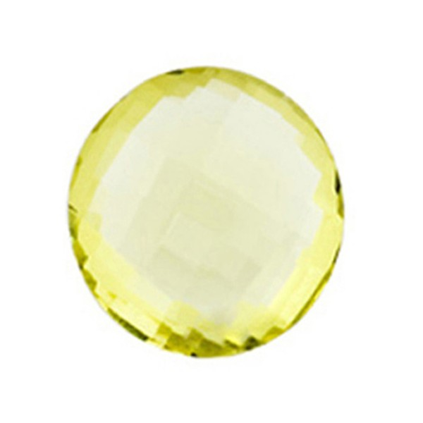 Lemon quartz, intense lemon, faceted briolette, round, 16 mm