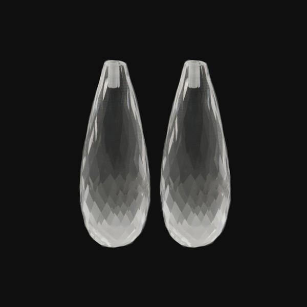 Rock crystal, transparent, colorless, faceted teardrop (harlequine), 30 x 12 x 10 mm