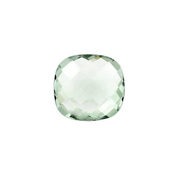 Prasiolite (green amethyst), green, faceted briolette, antique shape, 10 x 10 mm