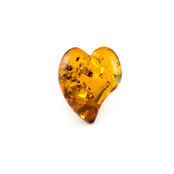 Natural amber, cognac-colored, lentil cut, smooth, curved heart shape, 17.5 x 16 mm