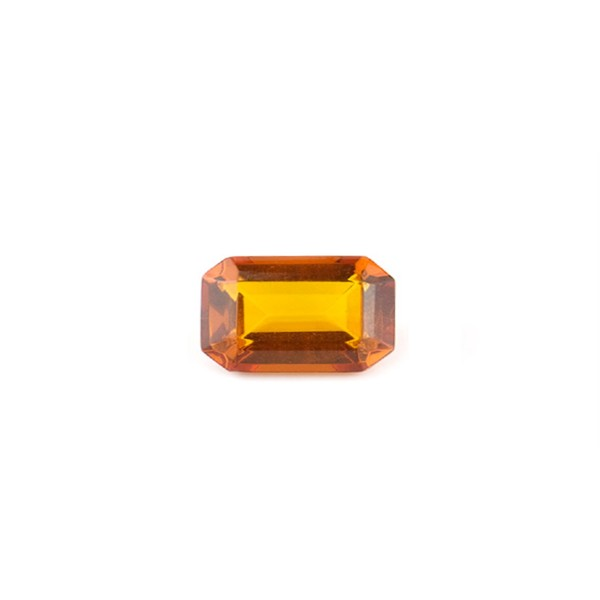 Natural amber, cognac-colored, faceted, octagonal, 8 x 6 mm