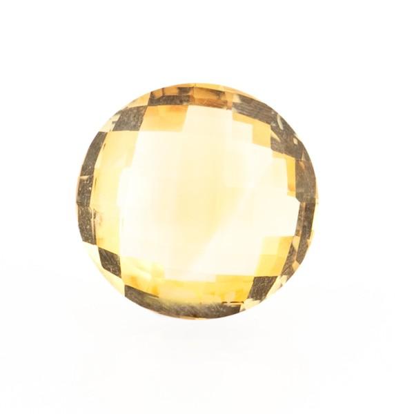 Citrine, golden color, faceted briolette, round, 14 mm