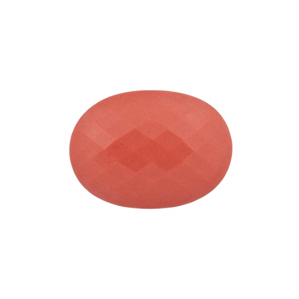 Coral, reconstructed, orange, faceted briolette, oval, 14 x 12 mm