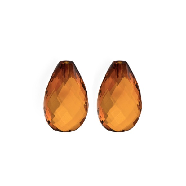 Natural amber, cognac-colored, teardrop, faceted, harlequine, 18 x 11 x 7.5 mm