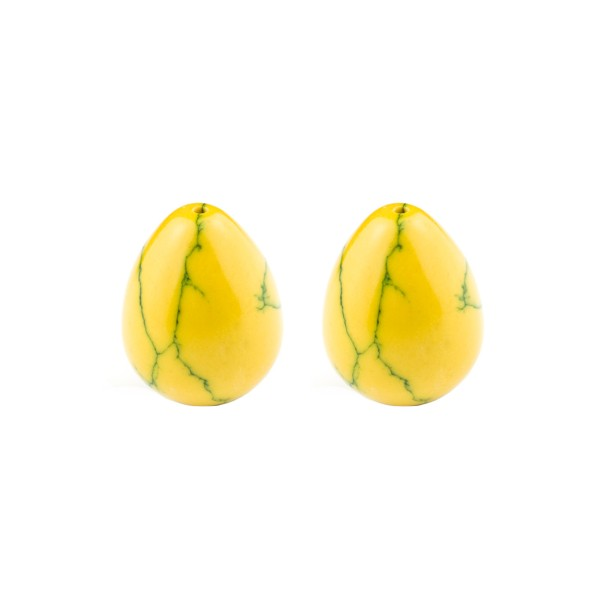 Turquoise (reconstructed), yellow, teardrop, smooth, 17 x 13 mm