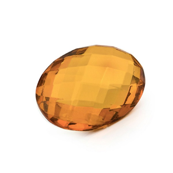 Natural amber, cognac-colored, briolette, oval, 16 x 12 mm