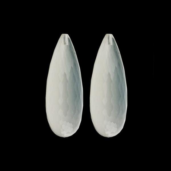 Milky quartz, white, faceted teardrop (harlequine), 30 x 12 x 10 mm