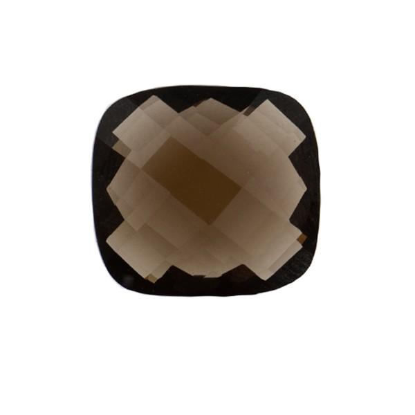 Smoky quartz, dark brown, faceted briolette, antique shape, 14 x 14 mm