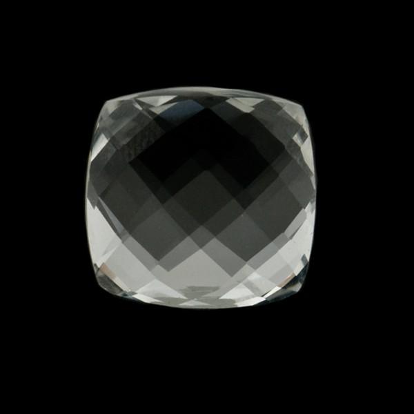 Rock crystal, transparent, colorless, faceted briolette, antique shape, 14 x 14 mm
