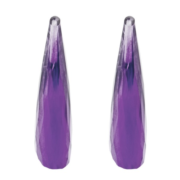 Amethyst (Africa), dark violet, faceted teardrop, 41 x 9 mm