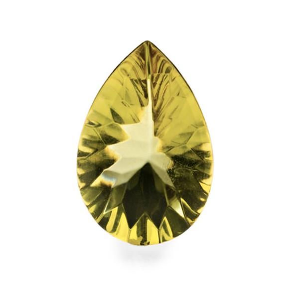 Bernstein (natur), grün, Buff Top, concave, Birnenform, 16x12 mm