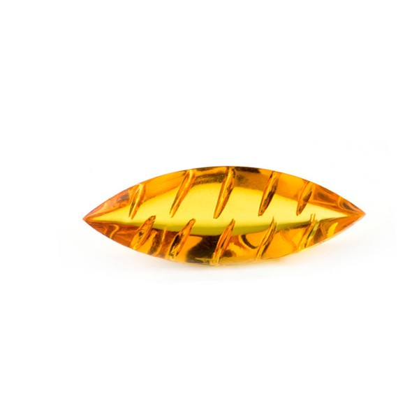 Natural amber, golden, navette, buff top, fancy faceted, grooved, oval, 20 x 10 mm