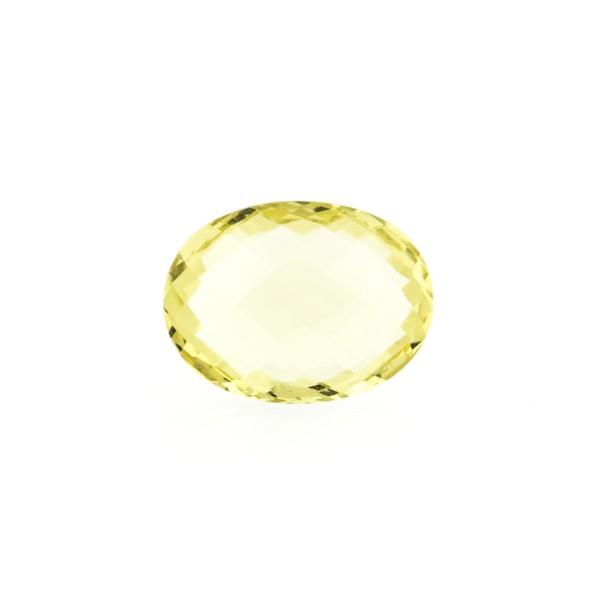Lemon quartz, intense lemon, faceted briolette, oval, 12 x 10 mm