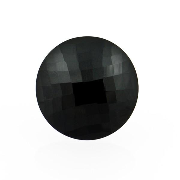 Onyx, schwarz, Briolett, facettiert, rund, 14mm