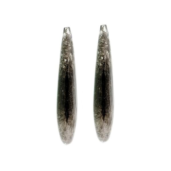 Rutilquarz, schwarze Nadeln, Pampel, facettiert, 35x8 mm