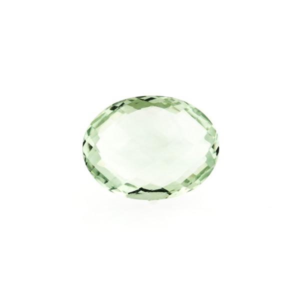 Prasiolite (green amethyst), green, faceted briolette, oval, 12 x 10 mm